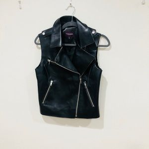 Faux leather black vest